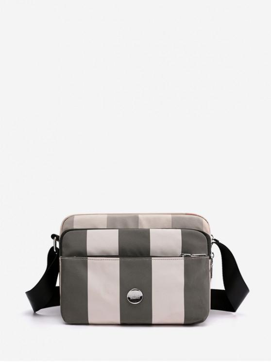 women Striped Waterproof Nylon Multi Pockets Crossbody Bag - KHAKI