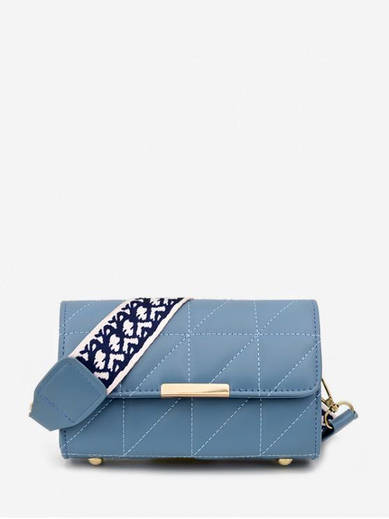 Quilted Leather Wide Strap Flap Crossbody Bag - ضوء السماء الزرقاء