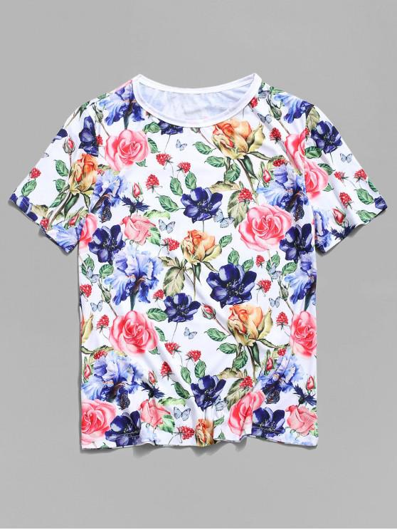 hot Flower Printed Vacation T-shirt - WHITE 3XL