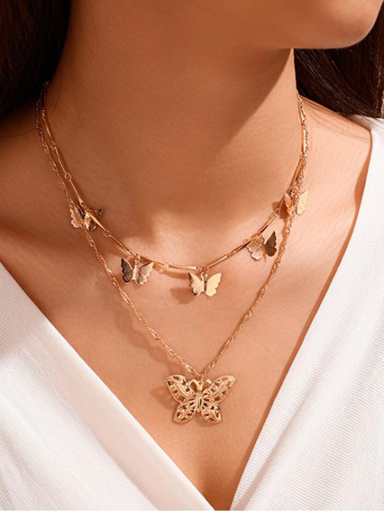 women's Double Layer Butterfly Charm Necklace - GOLD