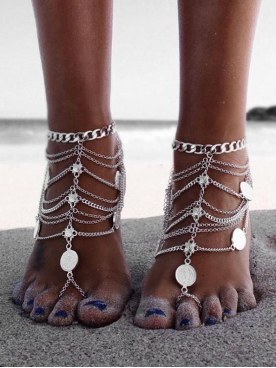 lady Toe Ring Layered Coin Anklet - SILVER