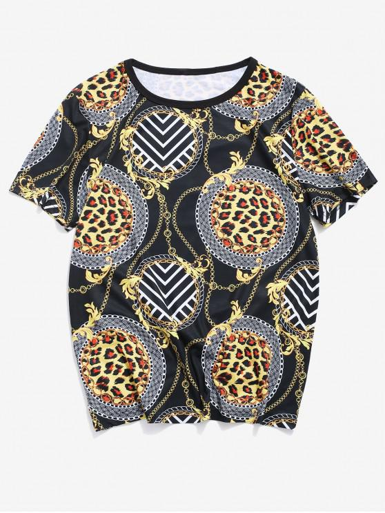 Baroque Print Round Neck T-shirt - أسود 2XL