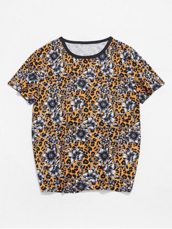 T-shirt Léopard Fleuri Imprimé à Col Rond - Jaune d'Abeille 2XL