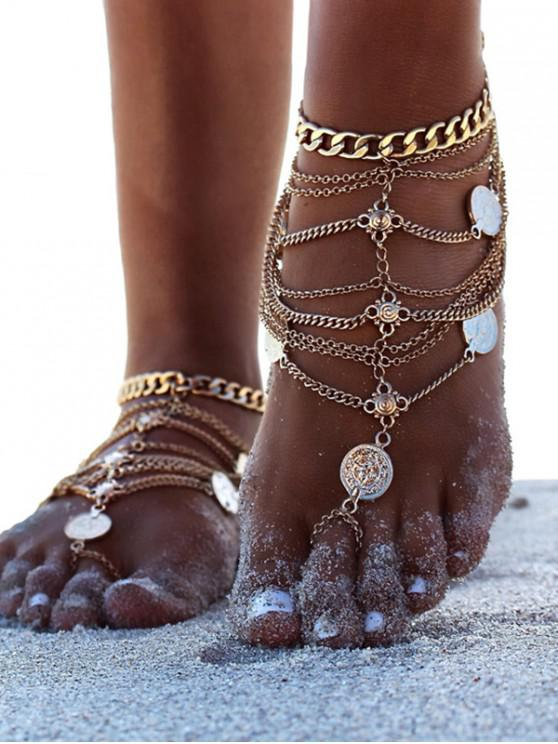 ladies Toe Ring Layered Coin Anklet - GOLD