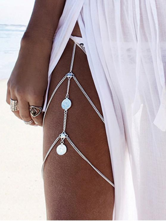 Coin Layered Thigh Chain - فضة