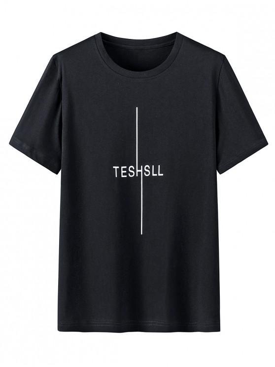 Camisa de Manga Curta de Impressão Gráfica com Colar Redondo - Preto XL