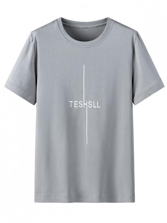 Rundhals T-Shirt mit Buchstaben und Grafikdruck - Graue Wolke 3XL