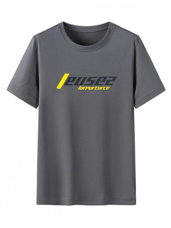 グラフィック柄カジュアルラウンドネックTシャツ - カーボングレー M