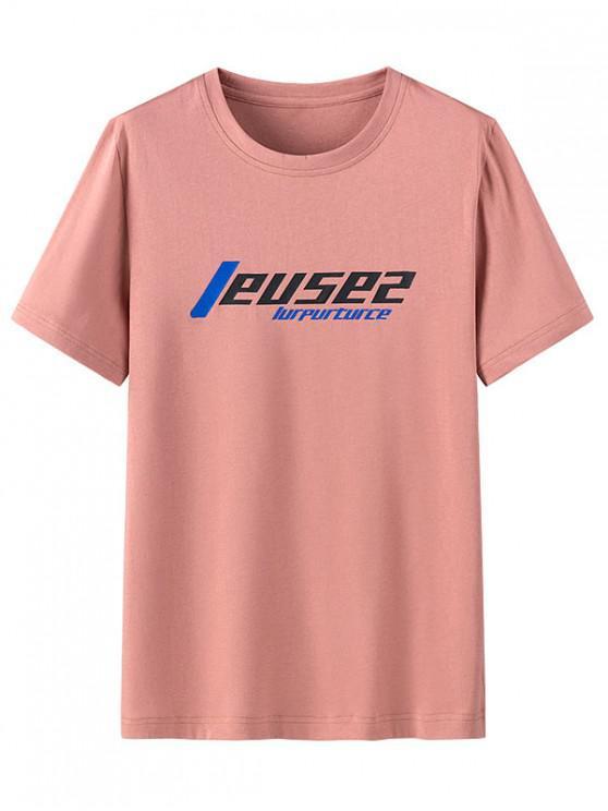 Graphic Pattern Casual Round Neck T-shirt - وردة زهرية 4XL
