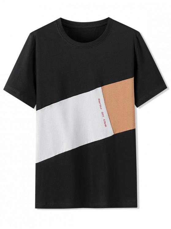 Letter Pattern Color Blocking T-shirt - أسود M