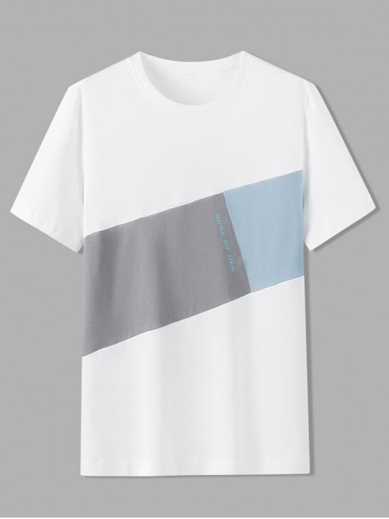 online Letter Pattern Color Blocking T-shirt - WHITE 4XL