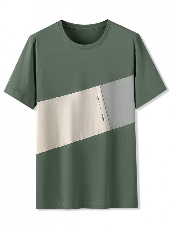 shop Letter Pattern Color Blocking T-shirt - HAZEL GREEN 3XL