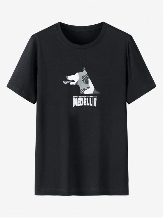 T-shirt Graphique Imprimé à Manches Courtes en Coton - Noir XL