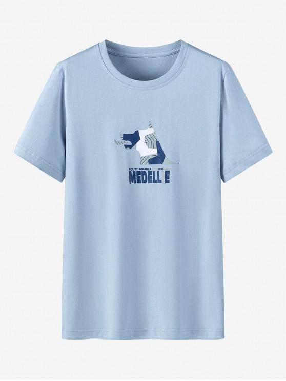 buy Graphic Print Cotton Short Sleeves T-shirt - BABY BLUE M