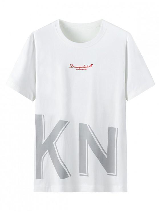 Graphic Letter Print Round Neck T-shirt - أبيض 3XL