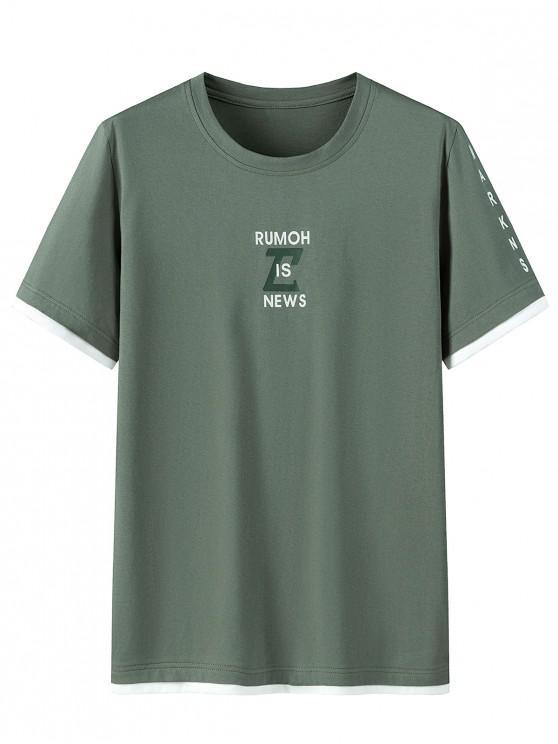 Camisa de Algodão Curta Gráfico com Manga Curta de Impressão - Cor de Verde da Avelã 2XL