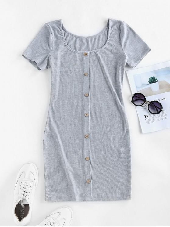 ZAFUL Ribbed Knit Mini Bodycon Dress - سحابة رمادية M