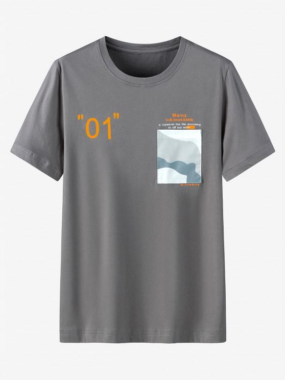 Maglietta Casual con Stampa Grafica e Tasca - Grigio Scuro 2XL
