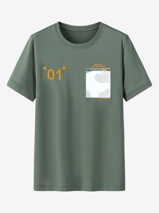 Maglietta Casual con Stampa Grafica e Tasca - Verde Bruno Chiaro 3XL