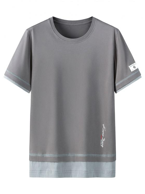 shop Letter Print Short Sleeves Cotton T-shirt - DARK GRAY 3XL