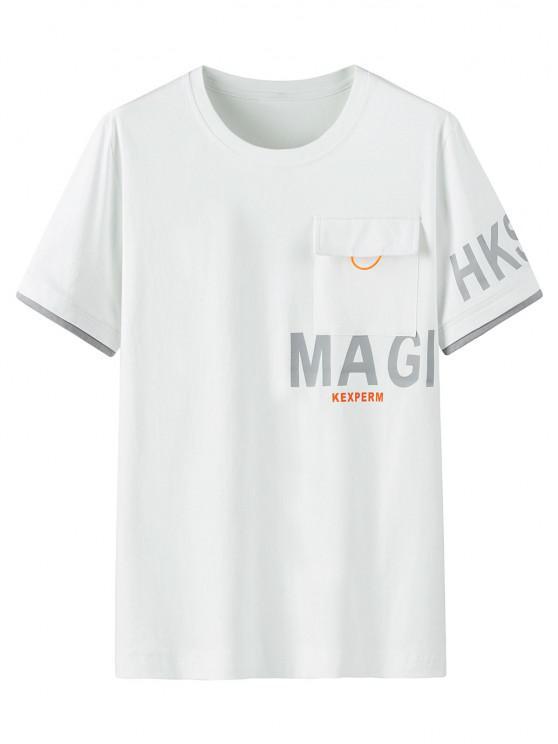 Maglietta Grafica con Tasca e Maniche Corte - Bianca 2XL