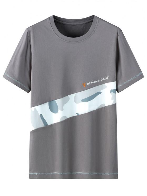 sale Letter Camo Pattern Casual T-shirt - DARK GRAY 3XL