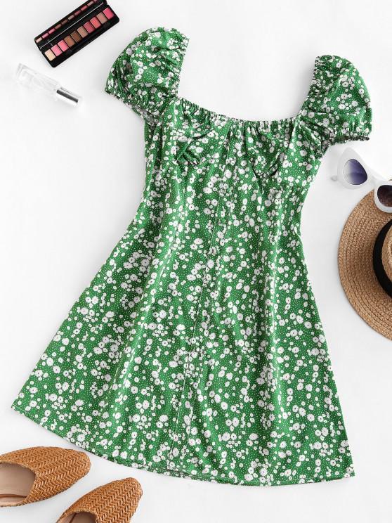 lady Ditsy Print Puff Sleeve Milkmaid Dress - GREEN S