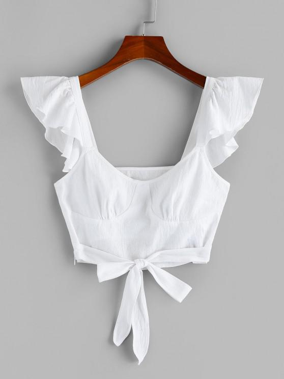 chic ZAFUL Flounce Knotted Backless Crop Top - WHITE S
