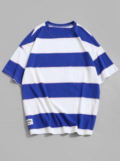 Short Sleeves Colorblock Striped T-shirt - Deep Sky Blue 4xl