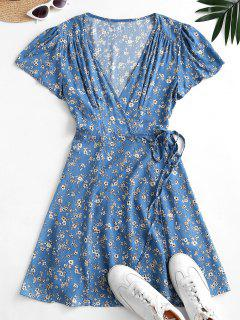 Flutter Sleeve Ditsy Floral Wrap Dress - Blue Koi M