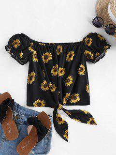 ZAFUL Sunflower Tie Hem Off Shoulder Blouse - Black S