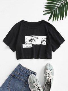 Pop Art Slogan Augendruck Crop T-Shirt - Schwarz S