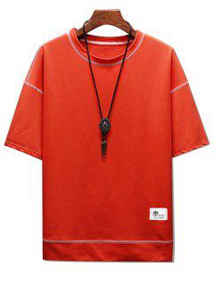 Short Sleeves Topstitching Two Tone Tee - Halloween Orange Xs
