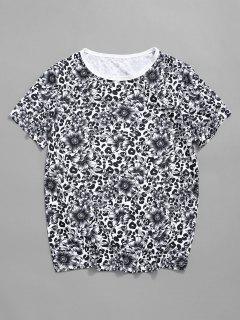 T-shirt Léopard Fleuri Imprimé à Col Rond - Blanc Xl