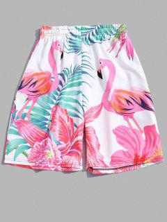 Flamingo Tropical Leaf Print Vacation Shorts - White 3xl