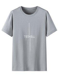 Camisa De Manga Curta De Impressão Gráfica Com Colar Redondo - Nuvem Cinzento 4xl