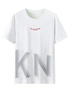 Camiseta De Cuello Redondo Con Texto Con Estampado Gráfico De Letras - Blanco Xl