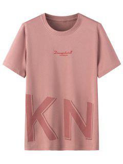 Camisa De Manga Curta De Impressão Gráfica Com Colar Redondo - Rosa 3xl