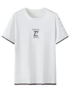 T-shirt Motif Graphique En Coton à Manches Courtes - Blanc 3xl