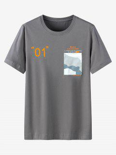 Graphic Printed Pocket Short Sleeves T-shirt - Dark Gray 4xl