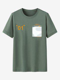 Graphic Printed Pocket Short Sleeves T-shirt - Hazel Green 4xl