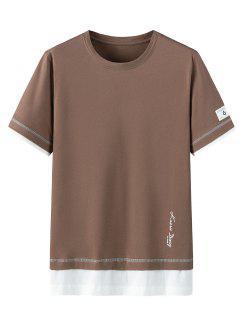 T-shirt Lettre Imprimée à Manches Courtes En Coton - Brun Foncé 3xl