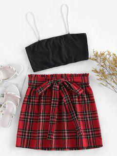 ZAFUL Plaid Faux Pearl Straps Belted Skirt Set - Multi M