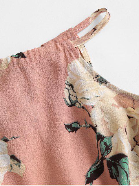 shops Waist Drawstring Tassel Floral Romper - PINK L Mobile