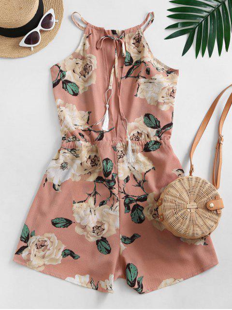 ladies Waist Drawstring Tassel Floral Romper - PINK M Mobile