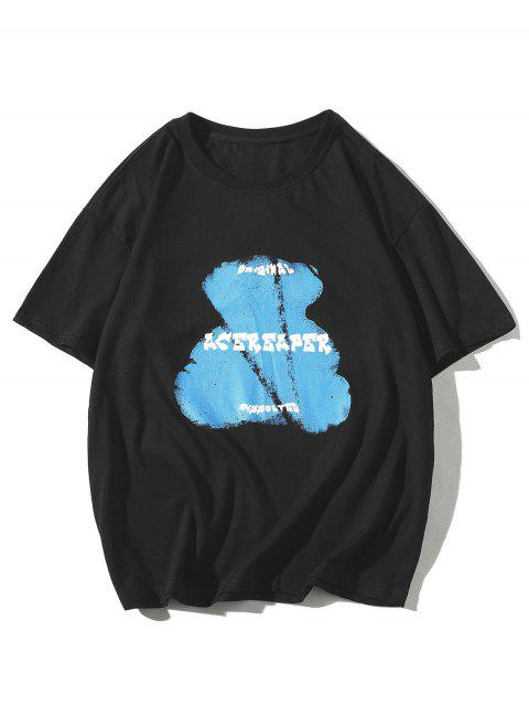 hot Bear Animal Letter Print Basic T-shirt - BLACK 3XL Mobile