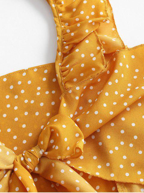 outfits Polka Dot Ruffle Two Piece Set - YELLOW S Mobile