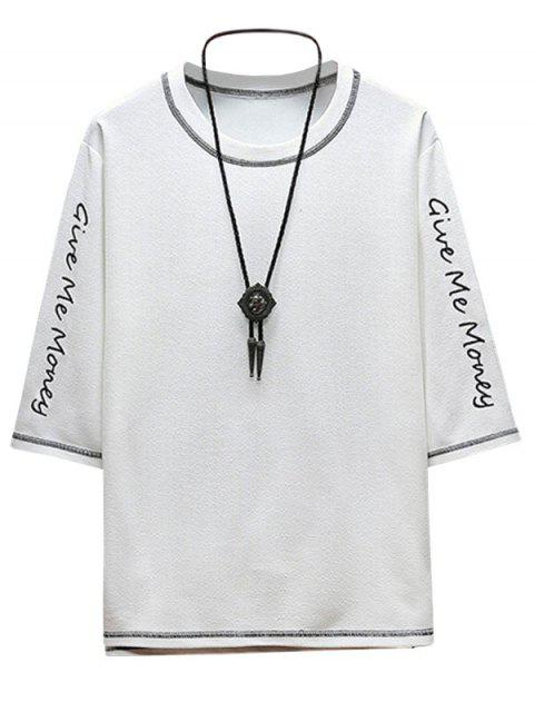 Contrast Letters Embroidered Tee with Topstitching - أبيض 2XL Mobile
