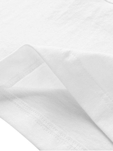 Buchstaben Druck Farbe Gespleißter Tank Top - Weiß 2XL Mobile