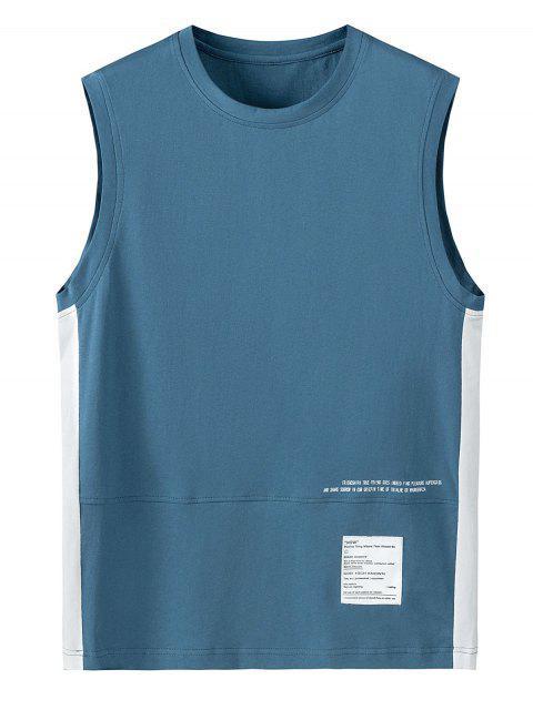 Débardeur Lettre Imprimée en Couleur Jointive - Bleu de Soie 3XL Mobile